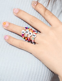 Fashion Color Mizhu Love Letter Ring Set Of 4