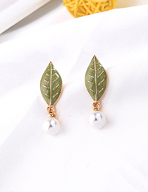 Fashion Leaf Section Leaf Pearl Earrings
