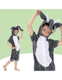 Fashion Gray Elephant Big Gray Elephant Hooded Short Costume