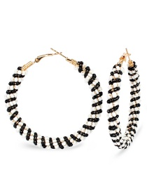 Fashion Black And White Rice Beads Winding Woven Earrings