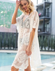 Fashion White Openwork Lace Hook Flower Long Sun Protection Clothing