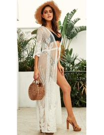 Fashion White Embroidered Sunscreen Blouse