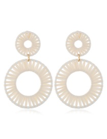 Fashion White Alloy Woven Geometric Earrings