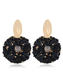 Fashion Black Alloy Shell And Diamond Earrings