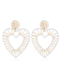 Fashion White Braided Heart-shaped Alloy Earrings