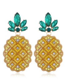 Fashion Yellow Alloy Diamond Pineapple Earrings
