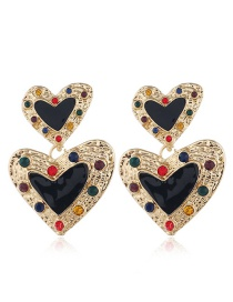 Fashion Black Metal Pearl Heart Tassel Earrings