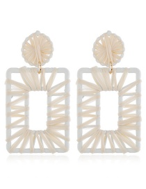 Fashion White Braided Geometric Earrings
