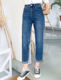 Fashion Blue Washed Roll Feet With Elastic Radish Jeans