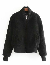 Fashion Black Fur Stitching Zipper Jacket