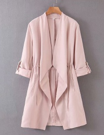 Fashion Pink Stitching Long Coat