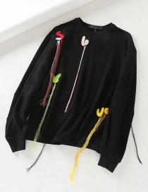 Fashion Black Lantern Sleeve Embroidery Letter Tassel Sweater