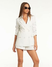 Fashion White Striped Suit + Shorts