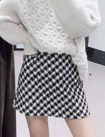 Fashion Black And White Tweed Houndstooth A Word Skirt