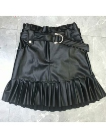 Fashion Black Small Pleated Faux Leather Skirt