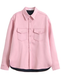 Fashion Pink Double Pocket Wide Coat