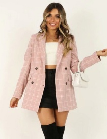 Fashion Pink Plaid Printed Double-breasted Suit
