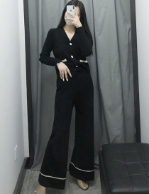 Fashion Black Knit Cardigan + Lace Wide Leg Pants Two-piece Set