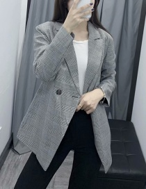 Fashion Gray Plaid Suit