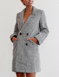 Fashion Black And White Plaid Printed Double-breasted Jacket