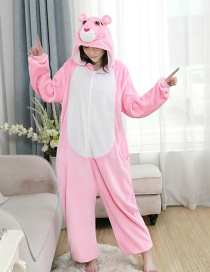 Three-dimensional Pink Leopard Flannel Cartoon One-piece Pajamas