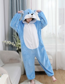 Blue Shiba Inu Flannel Cartoon One-piece Pajamas