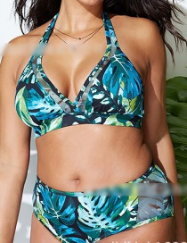Blue Printed Green Leaf High Waist Split Swimsuit