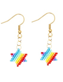 Color Bar Rice Beads Woven Star Earrings