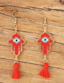 Red Rice Beads Woven Palm Eye Earrings