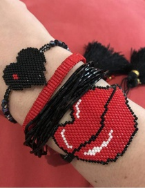 Black + Red Rice Beads Woven Love Lips Crystal Bracelet