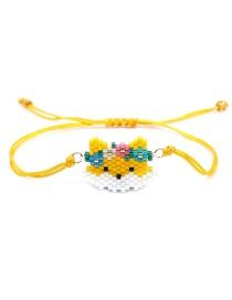Yellow Rice Bead Weave Cartoon Fox Tassel Bracelet