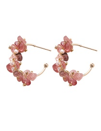 Fashion Pink 925 Silver Needle Irregular Stone Earrings