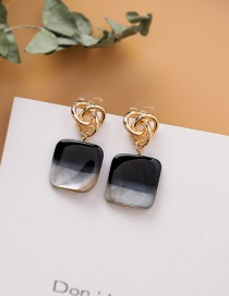 Fashion Black 925 Silver Stud Metal Knotted Square Earrings