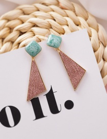 Fashion Pink Geometric Fabric Texture Square Triangle Earrings