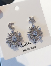 Fashion Silver 925 Silver Needle Micro Inlaid Zircon Star Moon Round Earrings