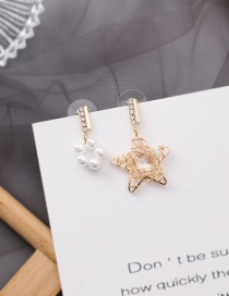 Fashion Star 925 Silver Needle Hollow Woven Love Five-pointed Star Rhinestone Pearl Asymmetric Earrings