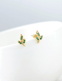 Fashion Gold S925 Silver Leaf Zircon Micro-inlay Earrings