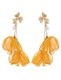 Fashion Ginger Yellow Alloy Mesh Flower Tassel Earrings