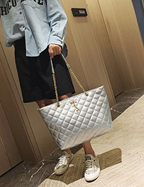 Fashion Silver Chain Rhombic Shoulder Messenger Bag