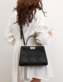 Fashion Black Geometric Embroidery Thread Shoulder Slung Handbag