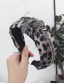 Fashion Leopard Gray Striped Diamond Knotted Wide-brimmed Headband