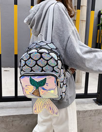 Fashion Silver Sequined Laser Mermaid Backpack