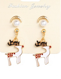 Fashion Gold Christmas Sika Deer Crescent Earrings 3 Pairs
