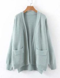 Fashion Green Double Pocket Cardigan Sweater