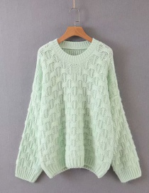 Fashion Light Green Jacquard Round Neck Pullover