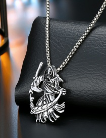 Fashion Human Bone Knife Silver Silver Dragon Spider Fist Necklace