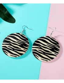 Fashion Black And White Strip Leopard Wood Round Earrings