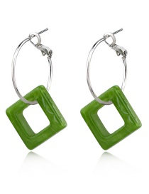 Fashion Green Leopard-print Square Acrylic Earrings