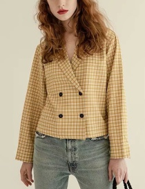 Fashion Yellow Plaid Suit Collar Top