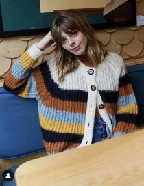Fashion Color Striped Cardigan Sweater